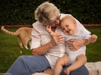 Josh, great-gran & Max the cat
