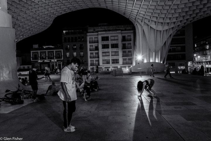 Break-dancing at the Metropol Parasol,Sevilla