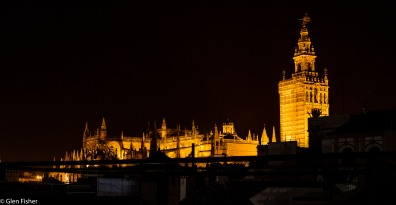 Seville Cathedral by night